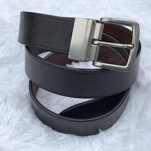 Ralph Lauren Men Belt Black/Brown Leather Reversib